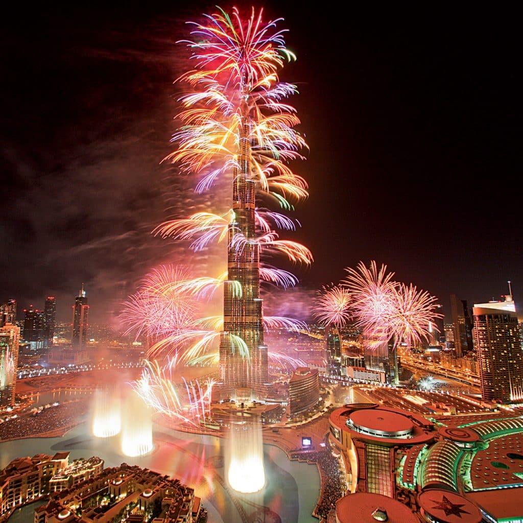 New Year Fireworks At Burj Khalifa
